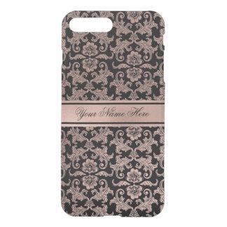 Rose Gold Gradient Metal Damask Pattern on Black iPhone 8 Plus/7 Plus Case