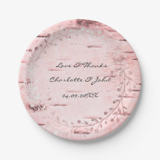 Rose Gold Gray Cottage Birch Wreath Garland Paper Plate