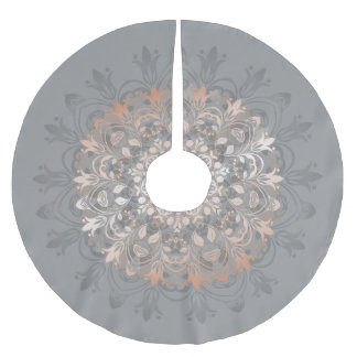 Rose Gold Gray Floral Mandala Brushed Polyester Tree Skirt