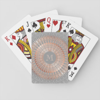 Rose Gold Gray Mandala Monogram Playing Cards