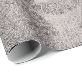 Rose Gold Gray Silver Graphite Glitter Grungy Wrapping Paper