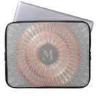 Rose Gold Grey Mandala Monogram Laptop Sleeve