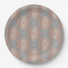 Rose Gold Grey Mandala Pattern Paper Plate