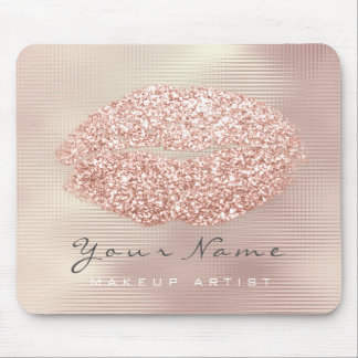 Rose Gold Grill Glitter Name Makeup Lips Kiss Mouse Pad