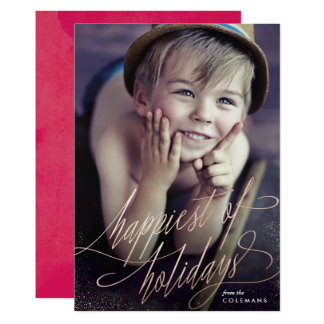 Rose Gold Happiest of Holidays Script Photo Card