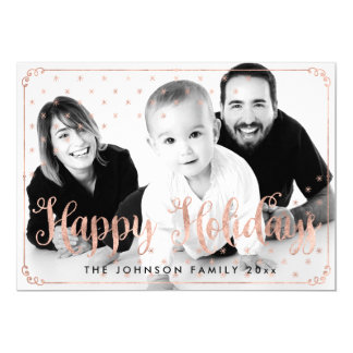 Rose Gold Happy Holidays Photo Cards