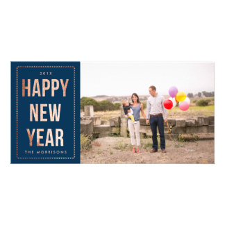Rose Gold Happy New Year Faux Glitter on Navy Blue Personalized Photo Card