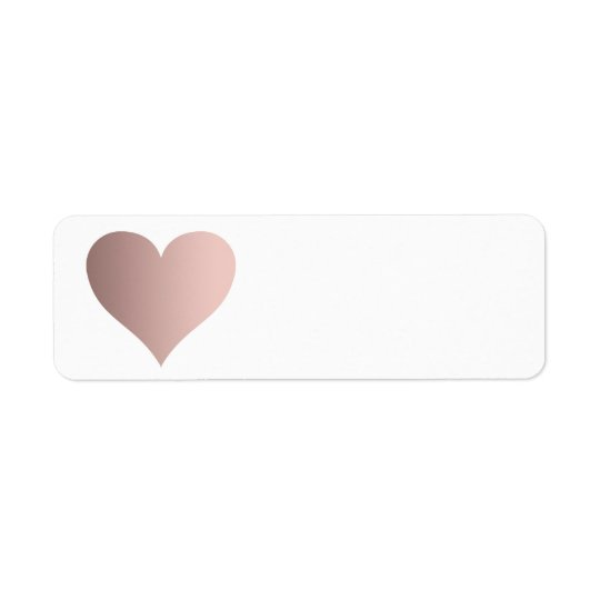 rose gold heart return address label