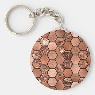Rose gold hexaglam basic round button keychain