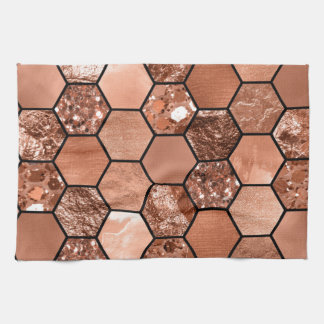 Rose gold hexaglam kitchen towel
