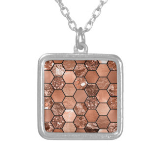 Rose gold hexaglam silver plated necklace