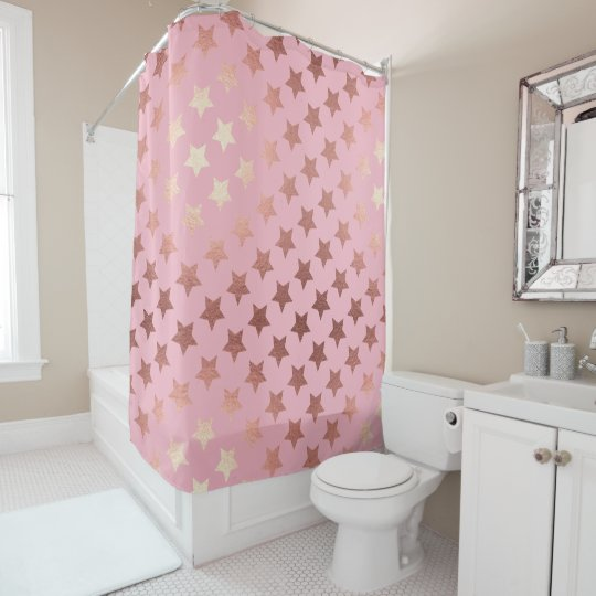rose gold hollywood stars pink  shower curtain