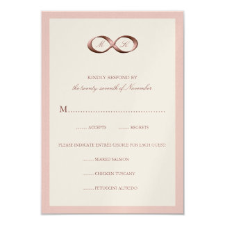 Rose Gold Infinity Hand Clasp Wedding RSVP Card