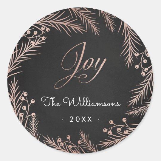 Rose Gold Joy Script Wreath & Chalkboard Christmas Classic Round Sticker