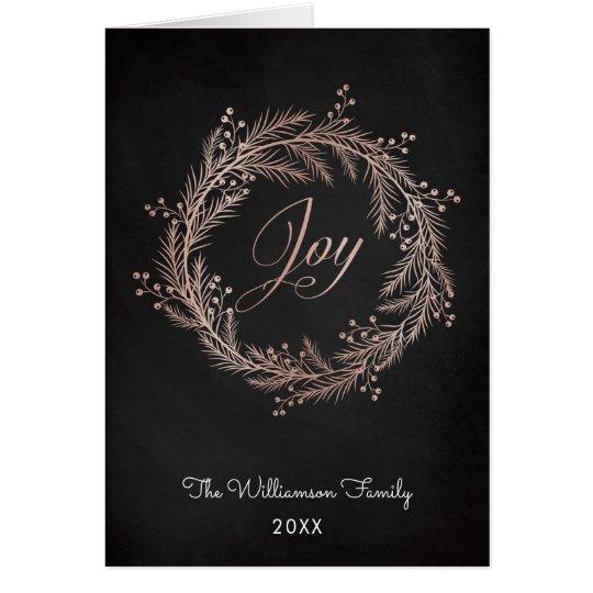 Rose Gold Joy Script & Wreath Christmas Card