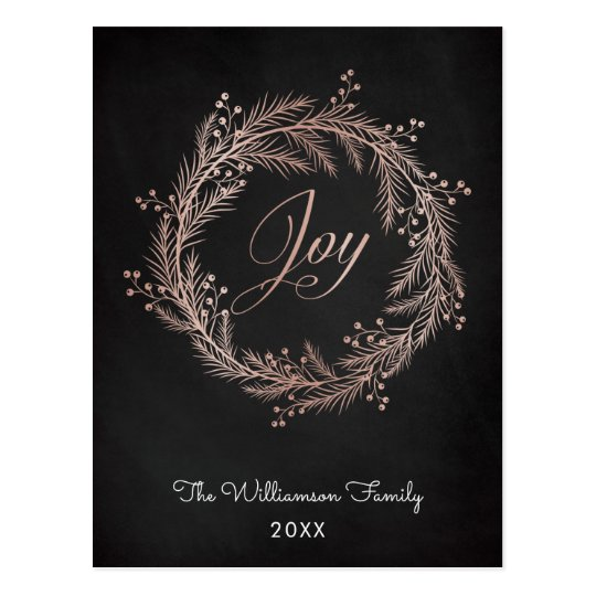 Rose Gold Joy Script & Wreath Christmas Postcard