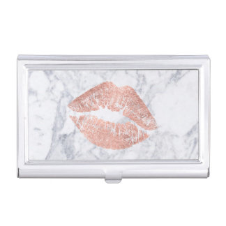 rose gold kiss on marble business card holder