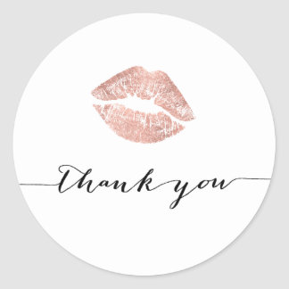 rose gold kiss thank you round sticker