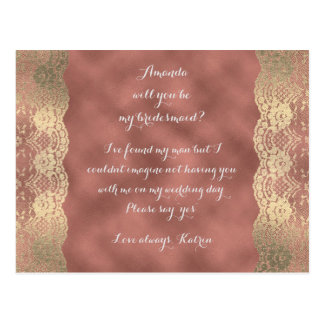 Rose Gold Lace Blush Will You Be My Bridesmaid Postcard