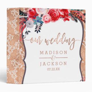 Rose Gold Lace Floral Elegant Wedding Photo Album Binder