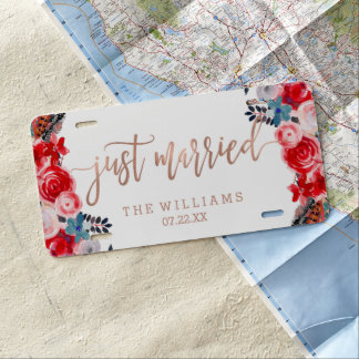 Rose Gold Lace & Floral Wedding Just Married License Plate