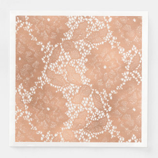 Rose Gold Lace & Floral Wedding Reception Party Paper Napkins