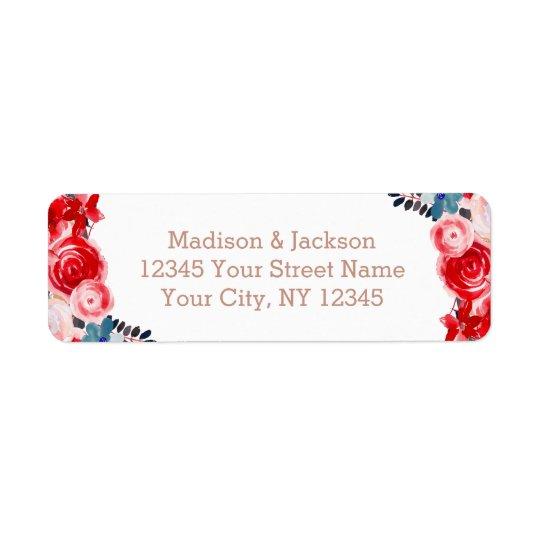 Rose Gold Lace & Floral Wedding Return Address