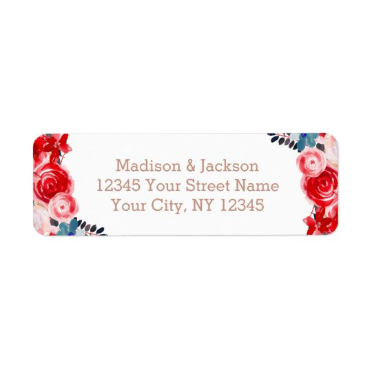 Rose Gold Lace & Floral Wedding Return Address Return Address Label
