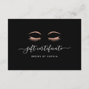 rose gold lashes brows gift certificate card