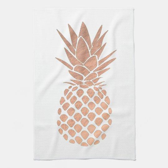rose gold leaf look pineapple kitchen towel
