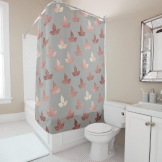 rose gold leaves leaf elegant shower curtain gray
