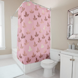 rose gold leaves leaf elegant shower curtain pink