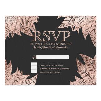 Rose Gold Leaves on Black RSVP Postcards