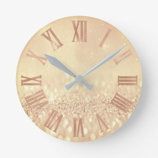 Rose Gold Lemon Glitter Minimal Metal Roman Numer Round Clock