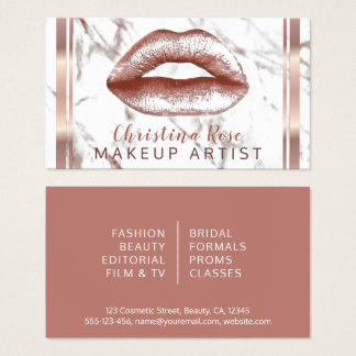 Rose Gold Lips Marble Makeup Artist Cosmetologist Business Card