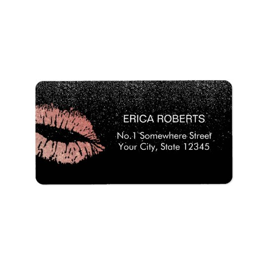 Rose Gold Lips Modern Black Glitter Beauty Salon Label