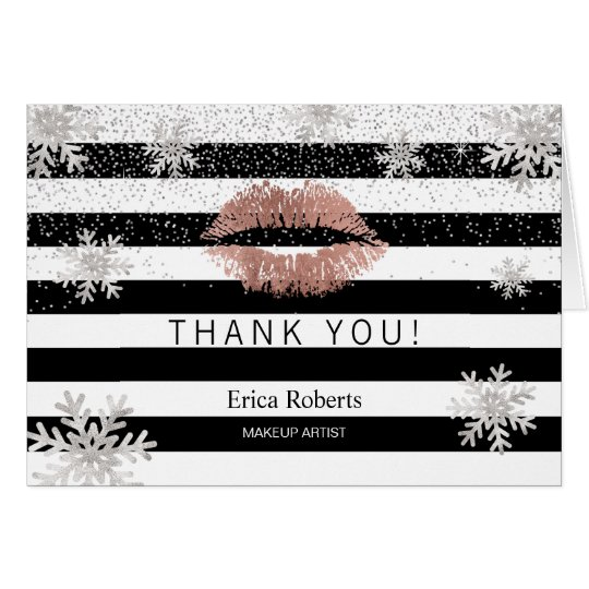 Rose Gold Lips Snowflakes Modern Stripes Thank You Card