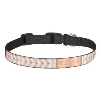 Rose Gold Look-like Chevron Pattern And Dog's Name Pet Collar