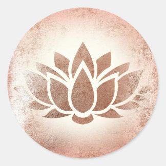 rose gold lotus flower classic round sticker