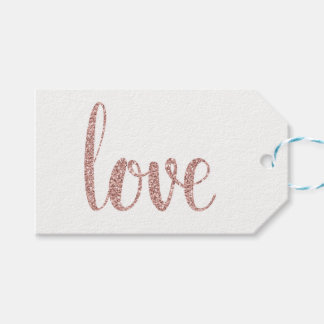 Rose gold love favor tags, glitter, horizontal gift tags