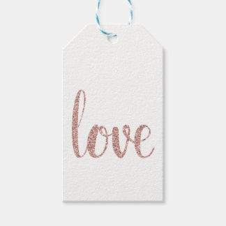 Rose gold love favor tags, glitter, vertical gift tags