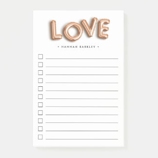 Rose Gold LOVE | Personalized To Do List Post-it Notes