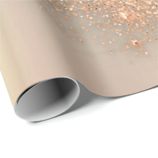 Rose Gold Makeup Confetti Glitter Beauty Peach Wrapping Paper