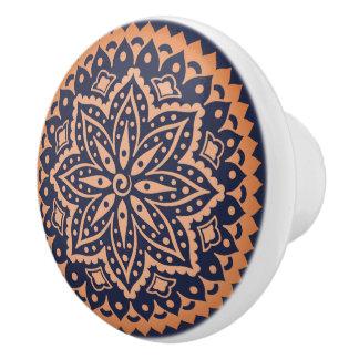 Rose-Gold Mandala On Blue Background Ceramic Knob