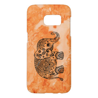 Rose-Gold Marble & Black Floral Paisley Elephant Samsung Galaxy S7 Case