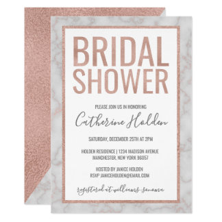 Rose Gold & Marble Bridal Shower Card