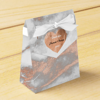 Rose Gold Marble Copper Heart 16th Wedding Favor Favor Box
