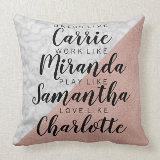 Rose Gold & Marble 'Dress Like Carrie' Throw Pillow