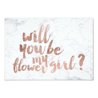 "Rose gold marble flower girl 3.5"" x 5"" invitation card"