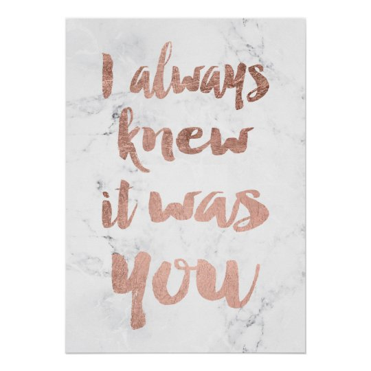 Small Wedding Quotes: Rose Gold Marble Love Quote Wedding Poster